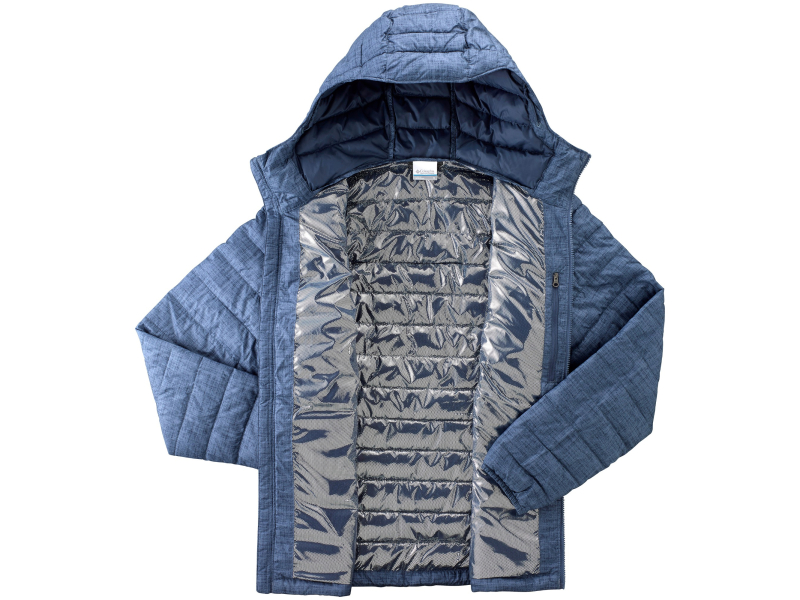 Columbia Powder Lite Hooded Jacket WO1151 Dark Mountain Crosshatch Print