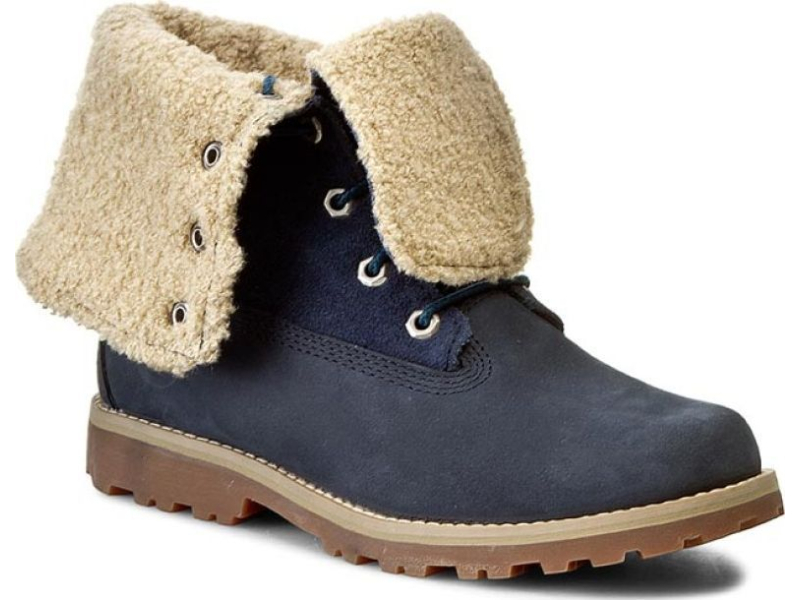 Timberland 6 In Faux Shearling Boot Junior's Medium Blue Nubuck