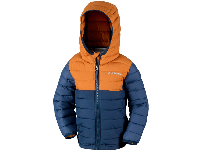 Columbia Powder Lite Boys Hooded Jacket Collegiate Navy/Canyon Gold