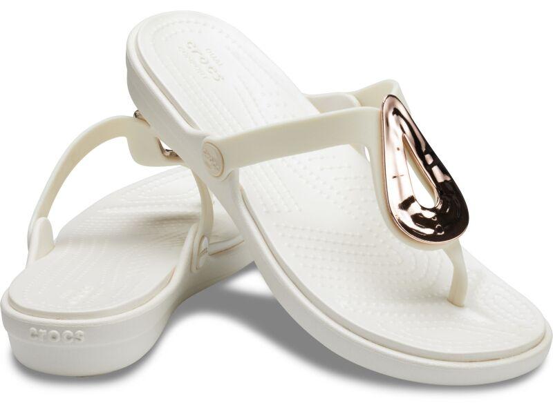 Crocs™ Sanrah Liquid Metallic Flip Women's Rose Gold/Oyster