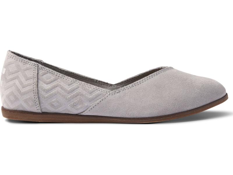 TOMS Suede Diamond Emboss Women's Jutti Flat Drizzle Grey