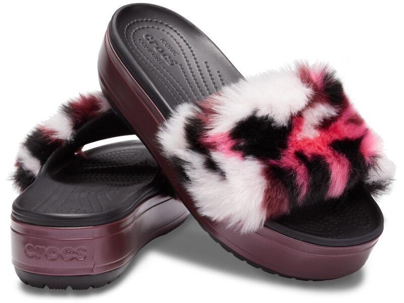 Crocs™ Crocband Platform So Luxe Slide Black/Burgundy