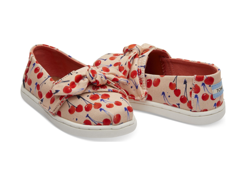 TOMS Cherry Cherie Print Bow Kid's Alpargata Coral Pink