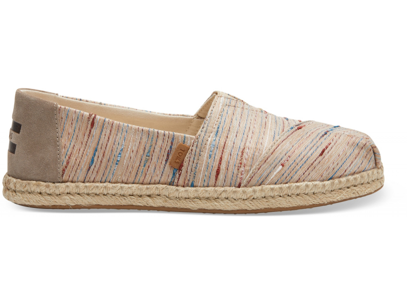 TOMS Slub Stripe on Rope Women's Alpargata Metallic