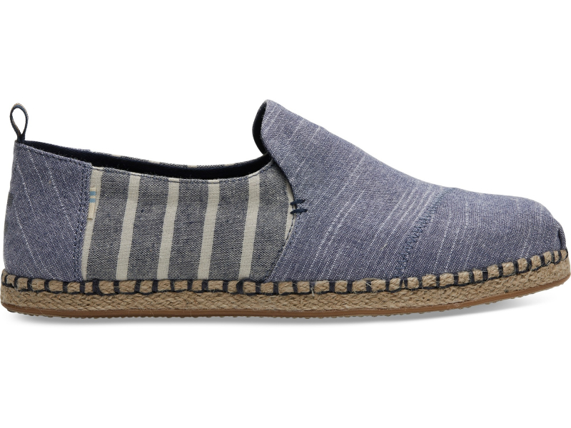 TOMS Cabana Stripe Mix Men's Deconstructed Alp Navy