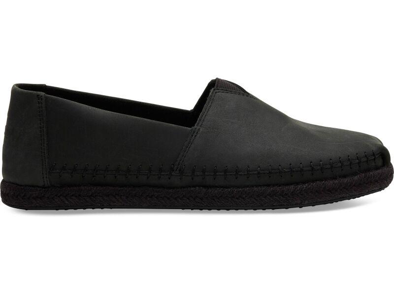 TOMS Leather Men's Alpargata Black/Black