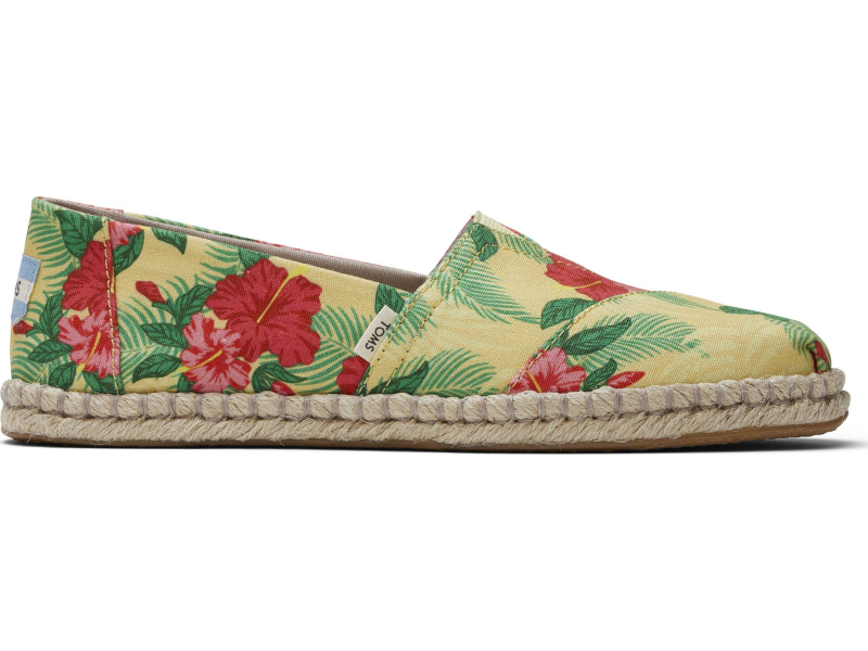 TOMS Hibiscus Floral Rope Women's Alpargata Yellow