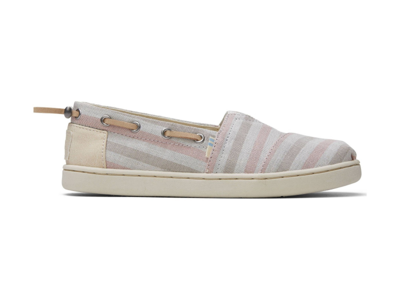 TOMS Woven Stripe Synthetic Trim Junior's Bimini Pink