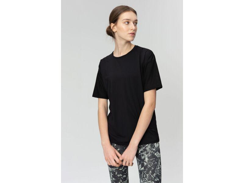 AUDIMAS Apranga Laisvo silueto funkcionalūs marškinėliai Black