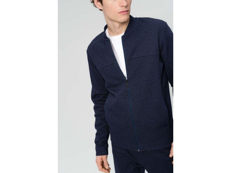 AUDIMAS Atsegamas medvilninis džemperis 2011-461 Navy Blazer Melange