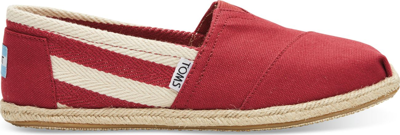 TOMS Stripe University Women's Classic Alpargata Red 38