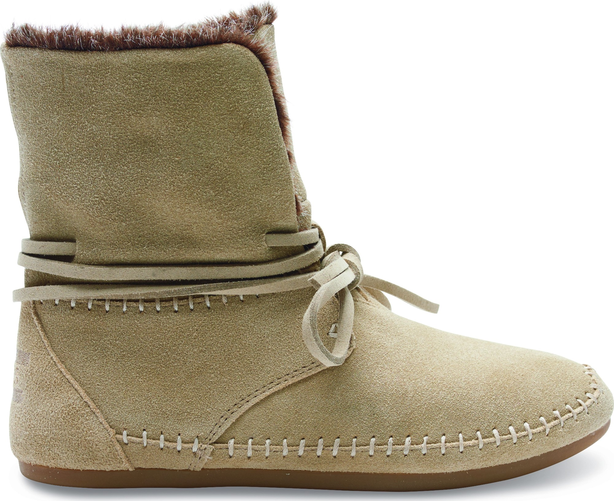 TOMS Suede Faux Hair Women's Zahara Bootie Oxford Tan 37