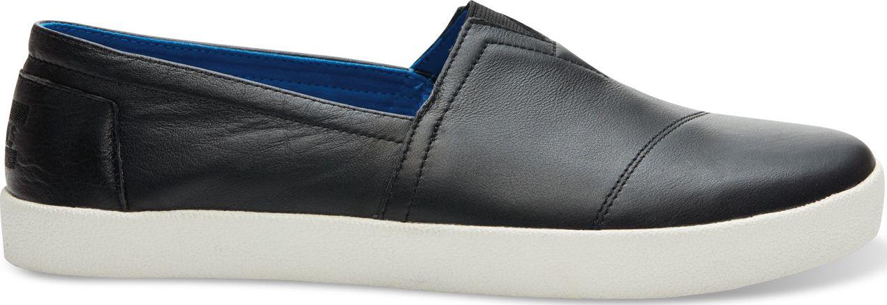 TOMS Full Grain Leather Men's Avalon Sneaker Black 42