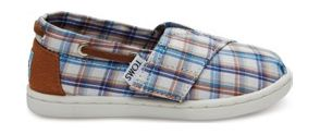 TOMS Woven Plaid Kid's Bimini Espadrille Blue Multi 27