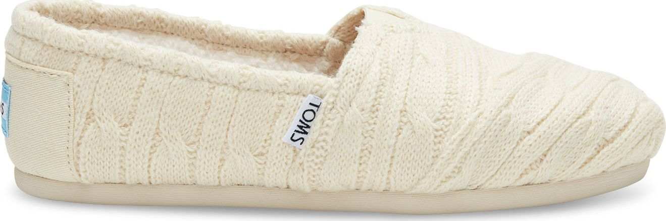TOMS Cable Knit Shearling Women's Alpargata Natural 37,5