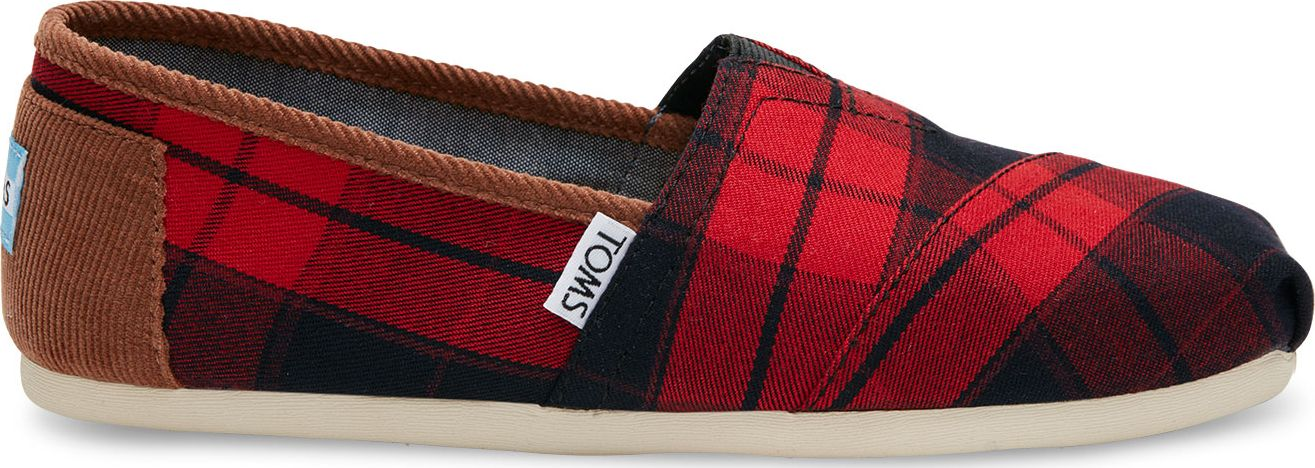 TOMS Plaid Women's Classic Alpargata Red/Black 38