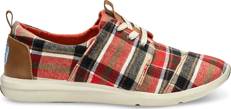 TOMS Plaid Women's Del Rey Sneaker Red/Warm Tan 40