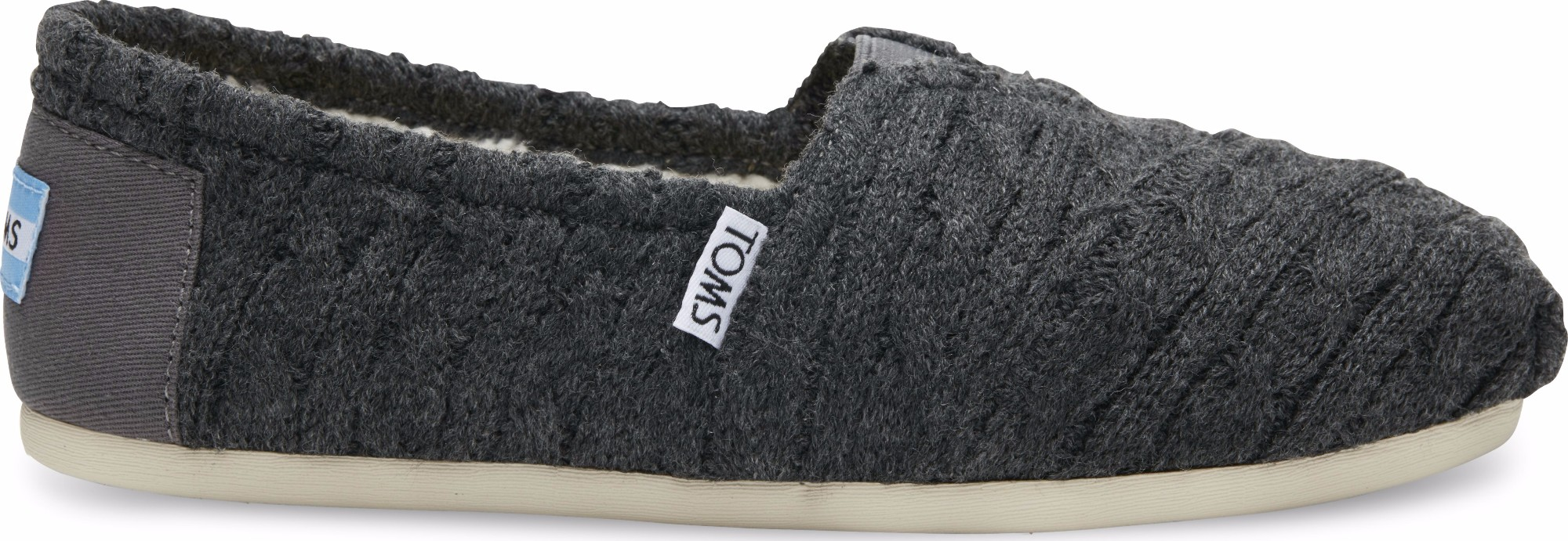 TOMS Cable Knit Shearling Women's Alpargata Forged Iron Grey 36,5