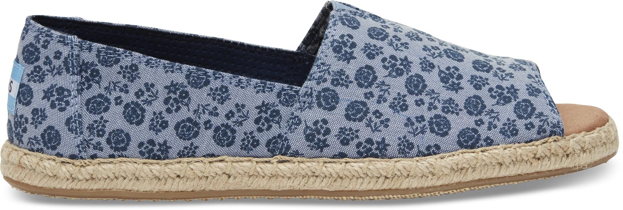 TOMS Ditsy Floral Women's Open Toe Alpargata Blue 36,5