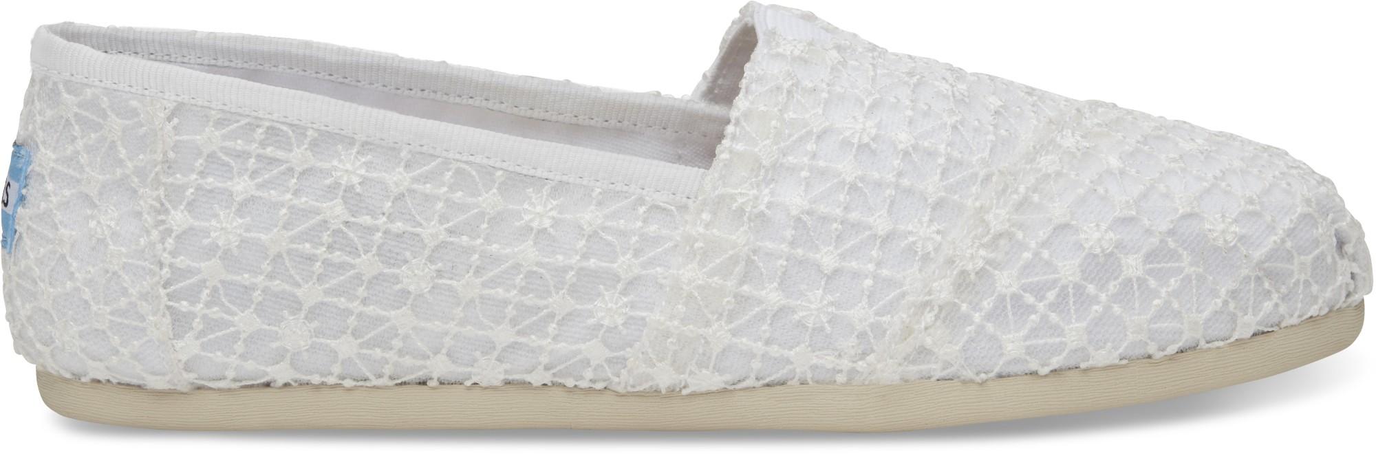 TOMS Crochet Lace Women's Alpargata White 39