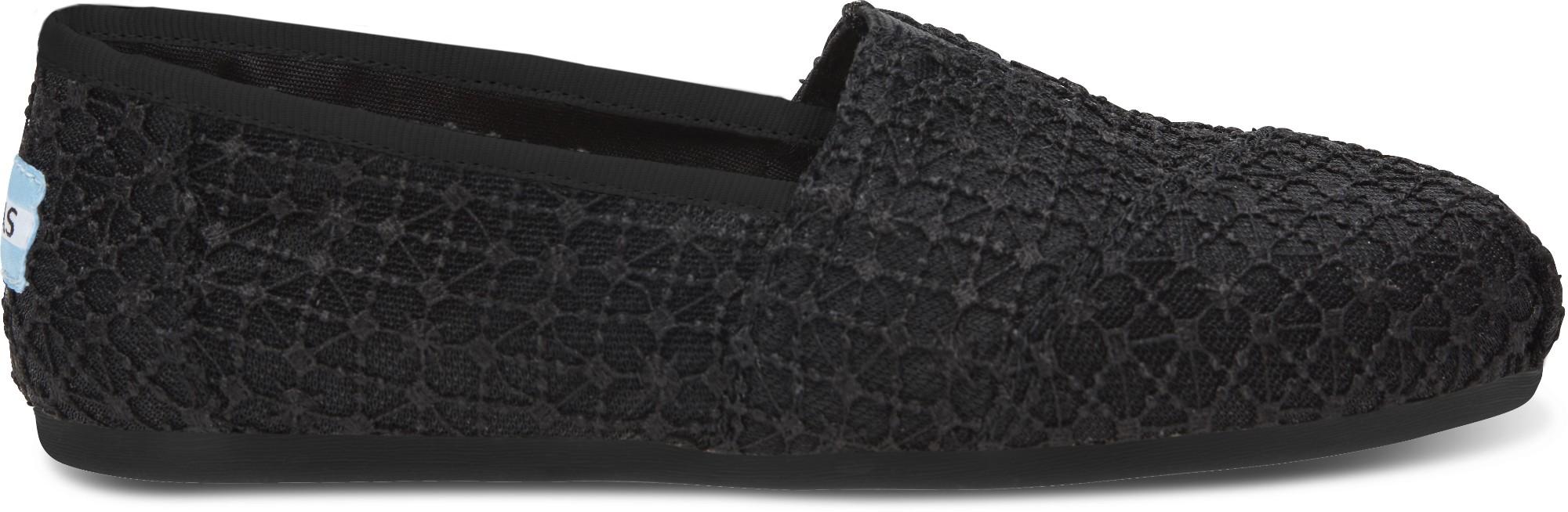 TOMS Crochet Lace Women's Alpargata Black 40