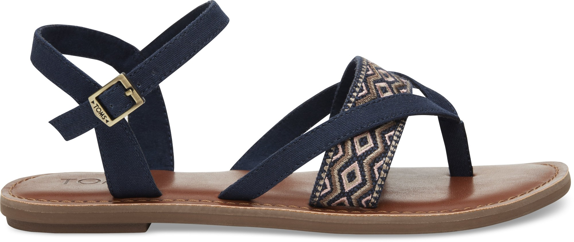 TOMS Canvas Embroidery Women's Lexie Sandal Navy 36,5