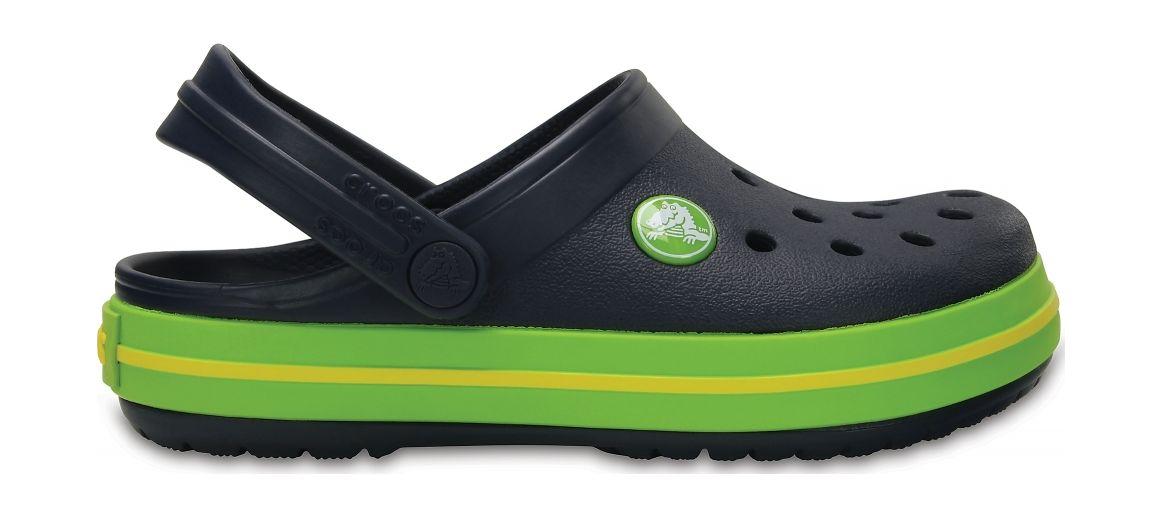 Crocs™ Kids' Crocband Clog Navy/Volt Green 22
