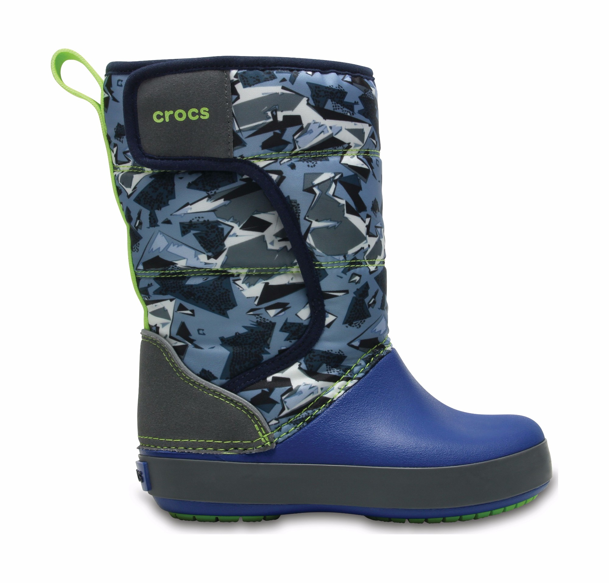 Crocs™ Lodgepoint Graphic Snow Boot Kid's Slate Grey/Blue Jean 23