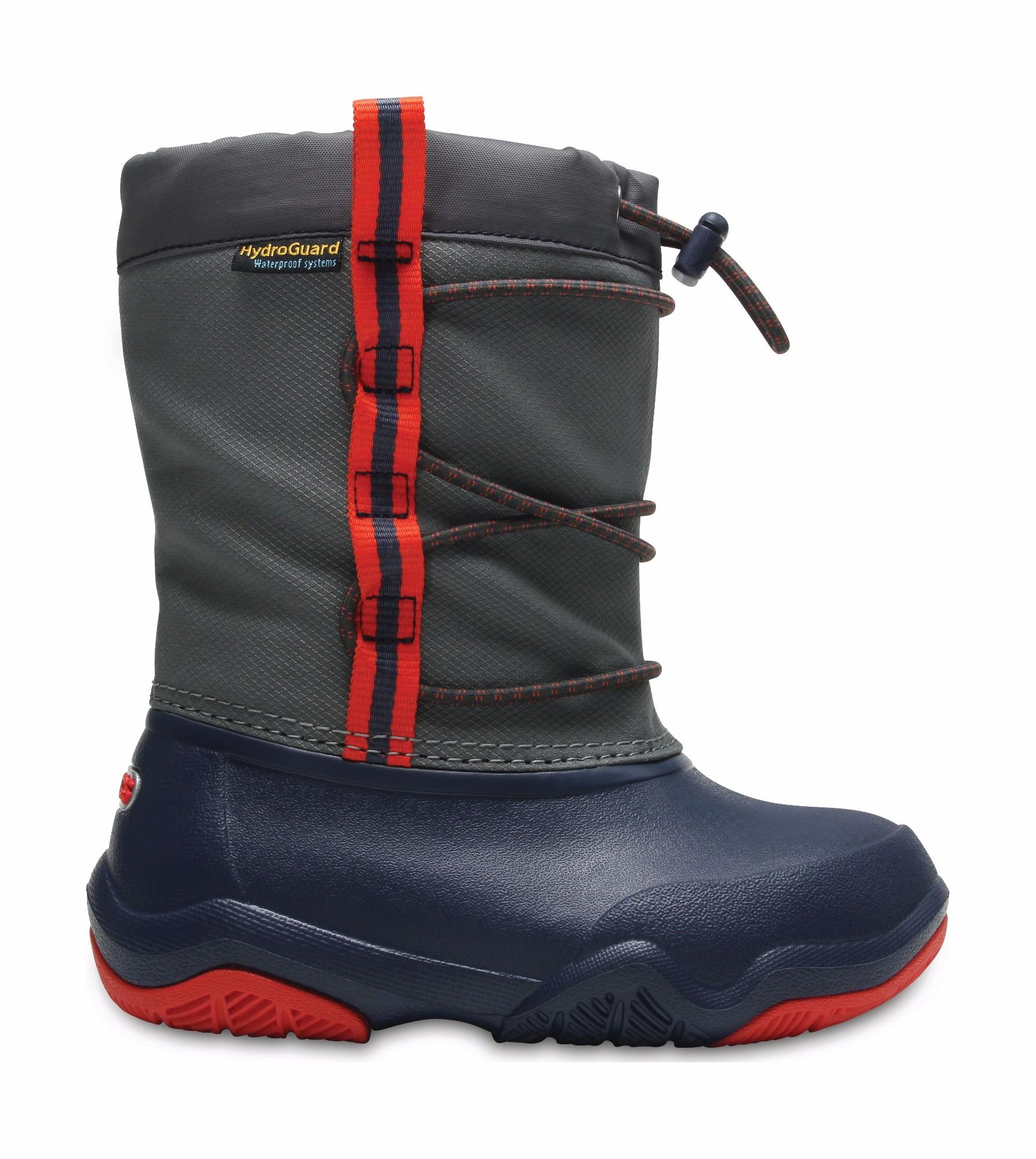 Crocs™ Swiftwater Waterproof Boot Kid's Navy/Flame 25