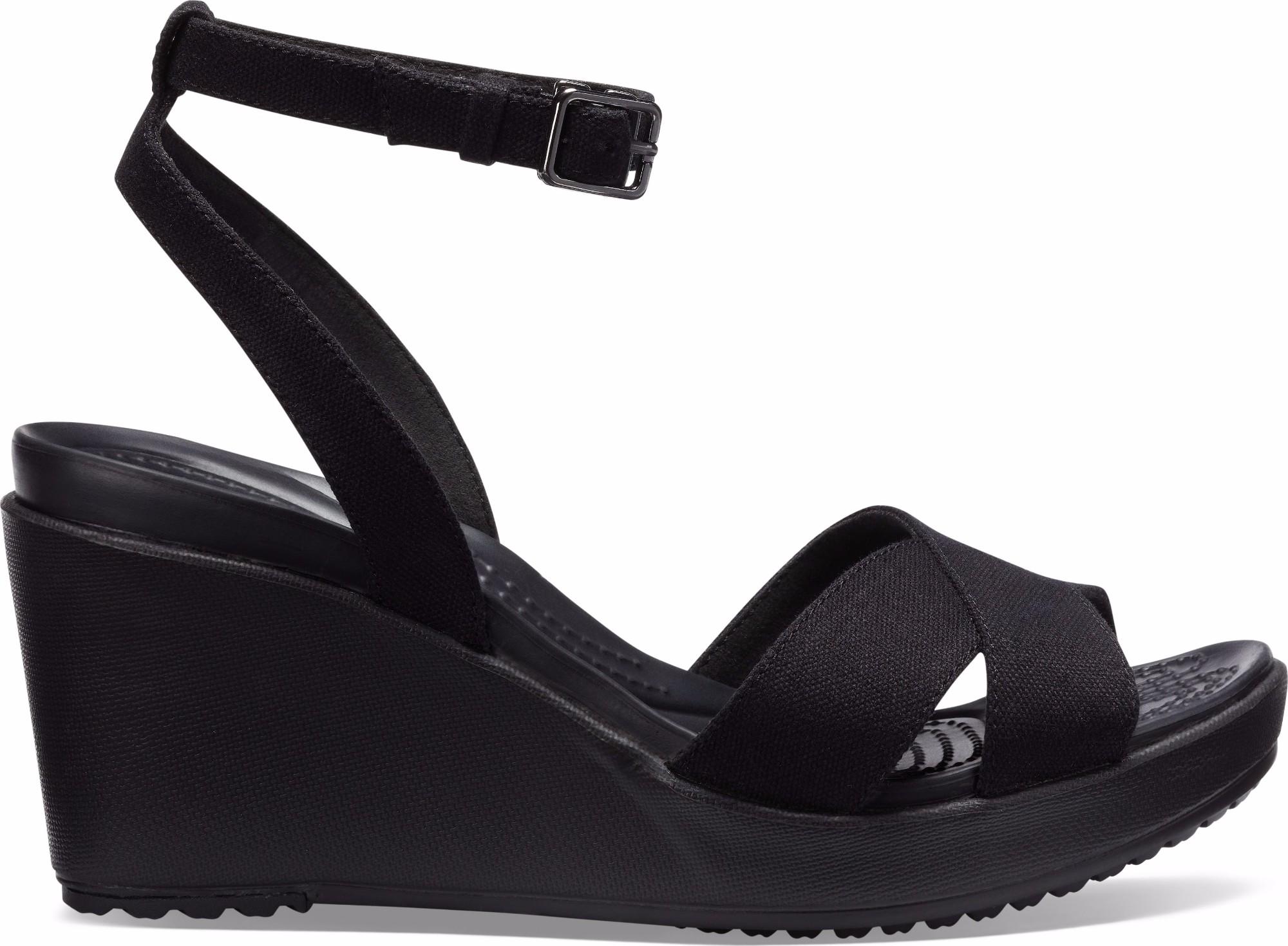 Crocs™ Women's Leigh II Ankle Strap Wedge Black/Black 39,5