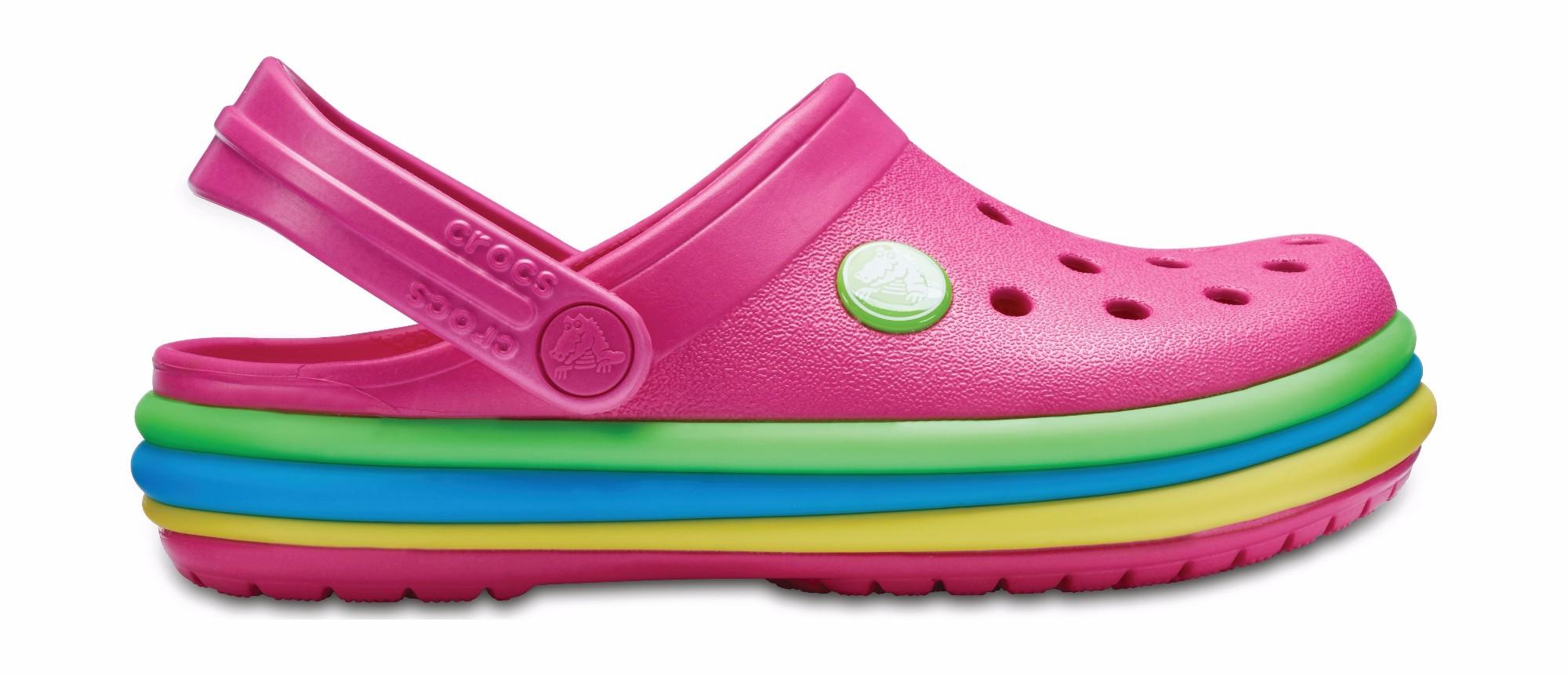 Crocs™ Kids' Crocband Rainbow Band Clog Paradise Pink 28