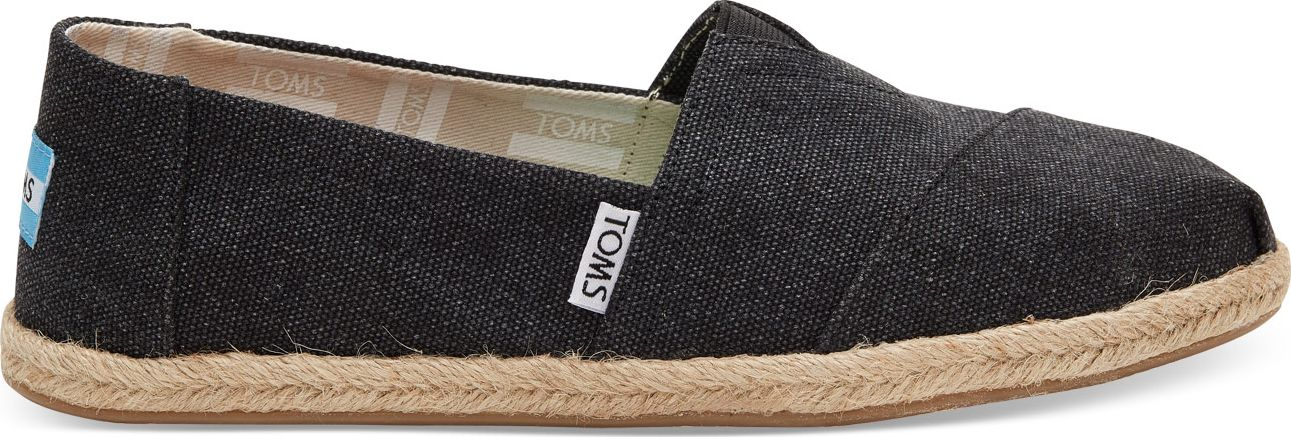 TOMS Washed Canvas Rope Sole Women's Alpargata Black 38,5