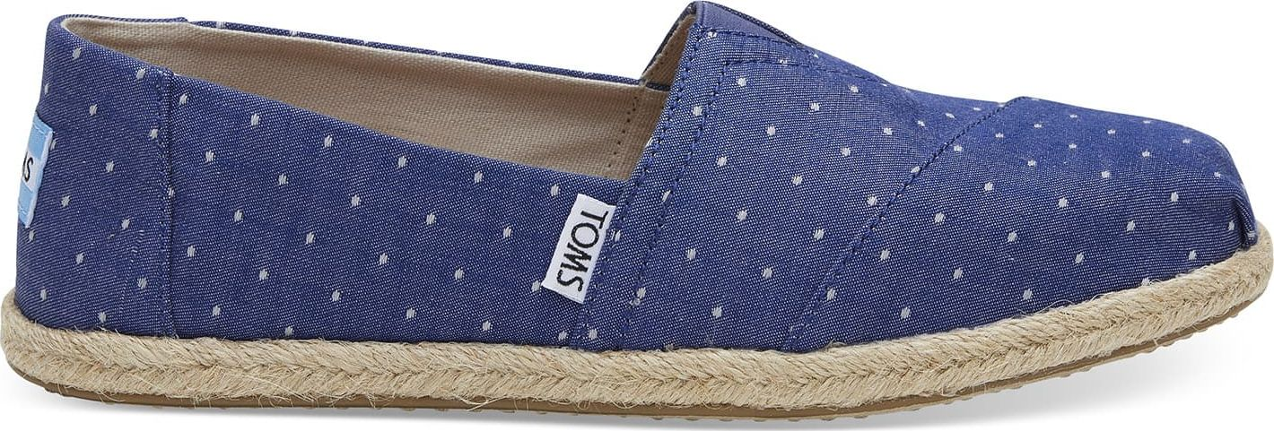 TOMS Dot Chambray Rope Sole Women's Alpargata Imperial Blue 37,5