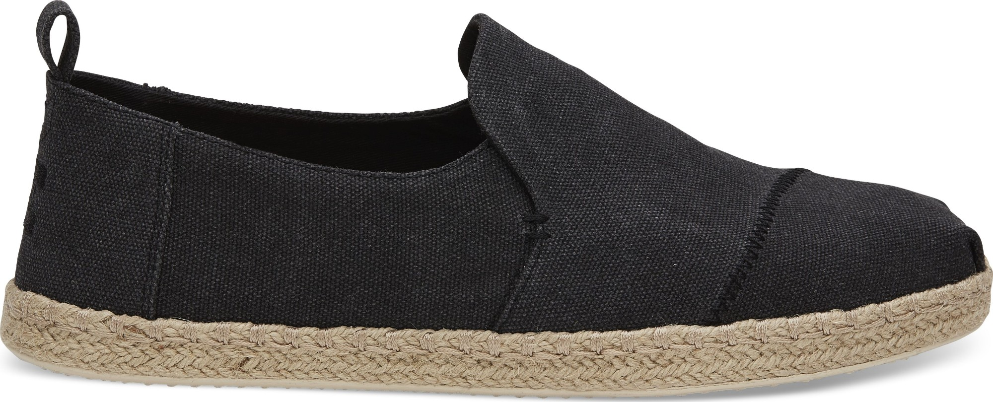 TOMS Washed Canvas Men's Deconstructed Alpargata Rope Black 42