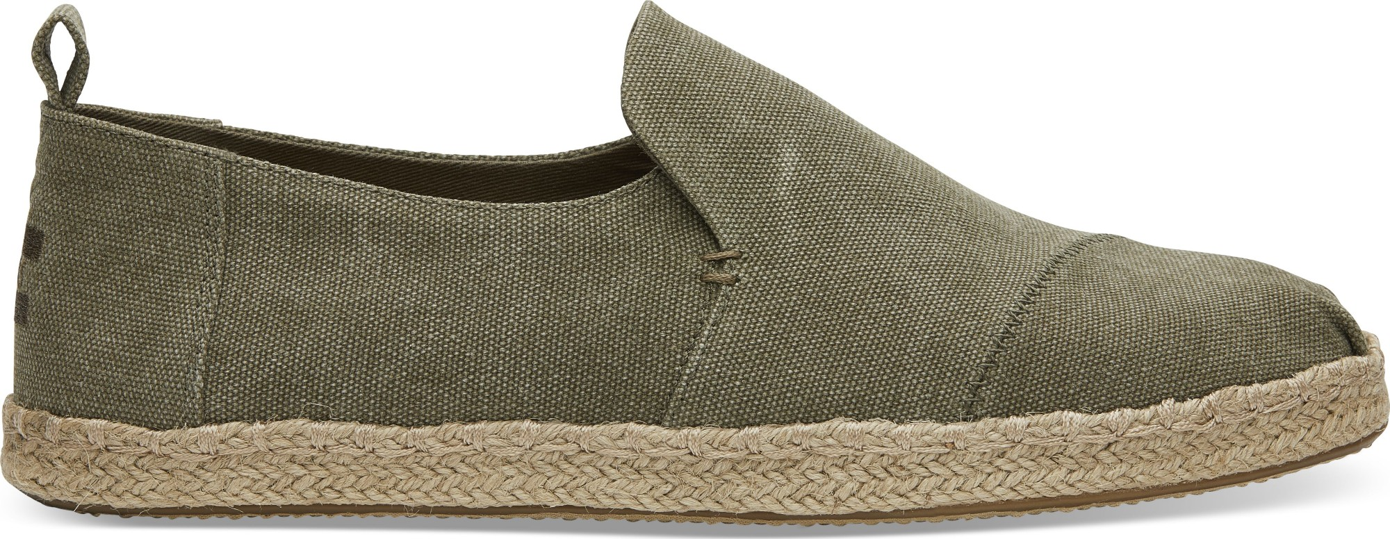 TOMS Washed Canvas Men's Deconstructed Alpargata Rope Olive 46