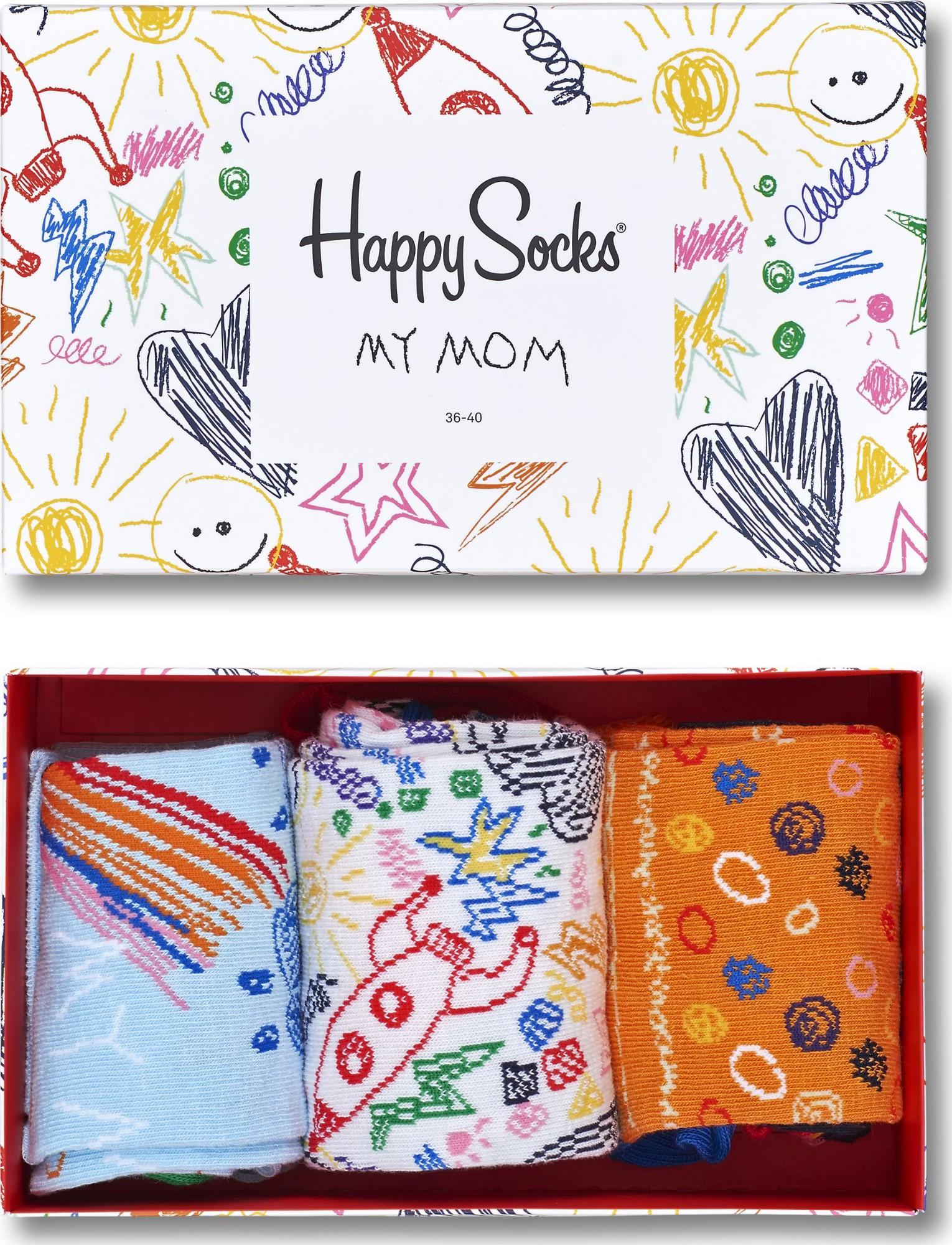 Happy Socks Mother's Day Gift Box Blue/White/Orange 36-40