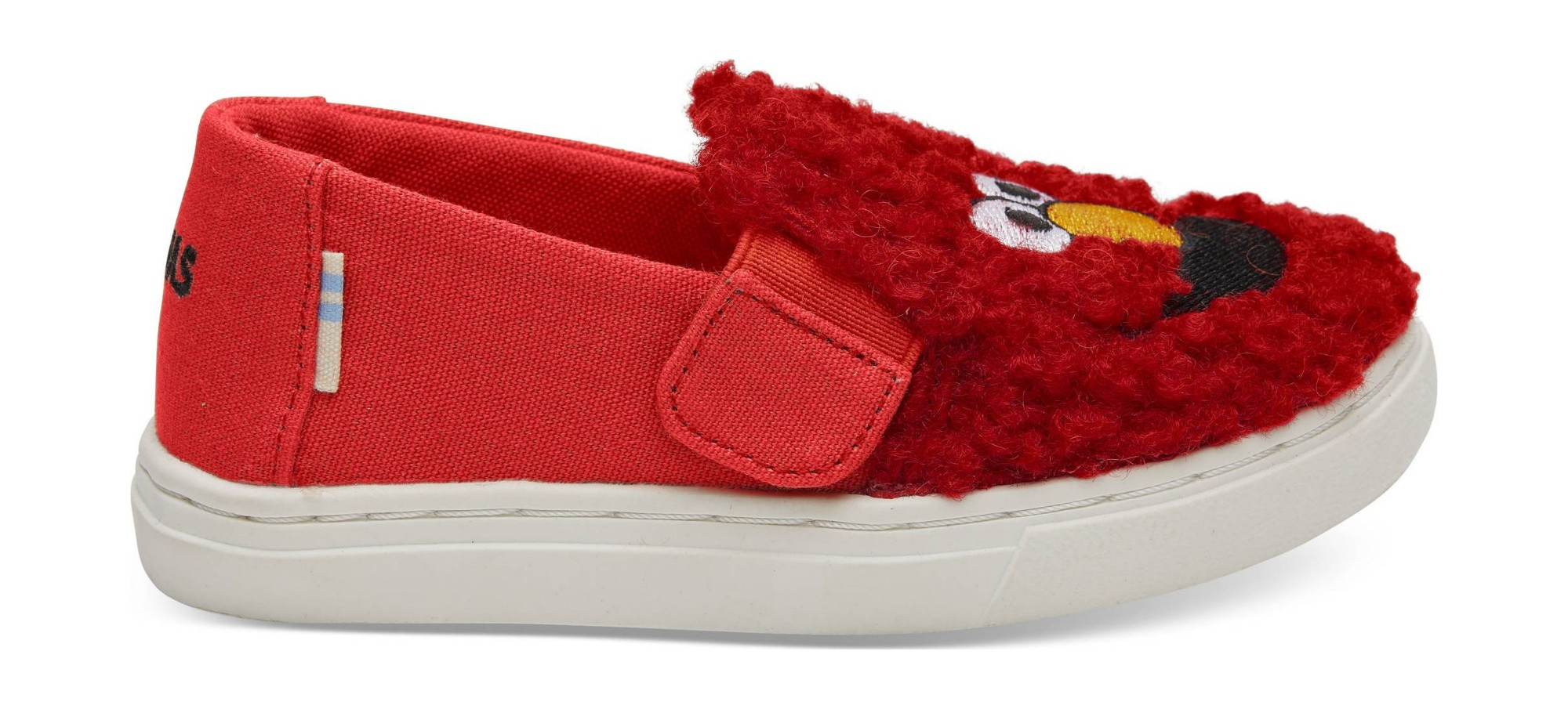 TOMS Elmo Shearling Face Canvas Kid's Luca Slipon Red 26