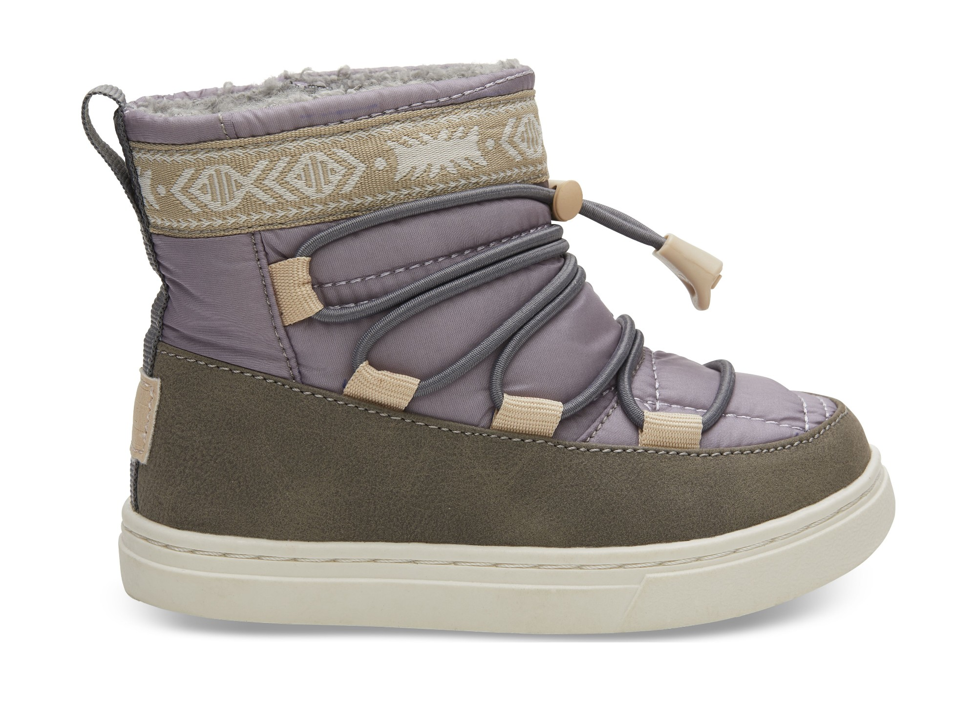 TOMS Quilted Synthetic Leather Kid's Alpine Boot Lavender 26