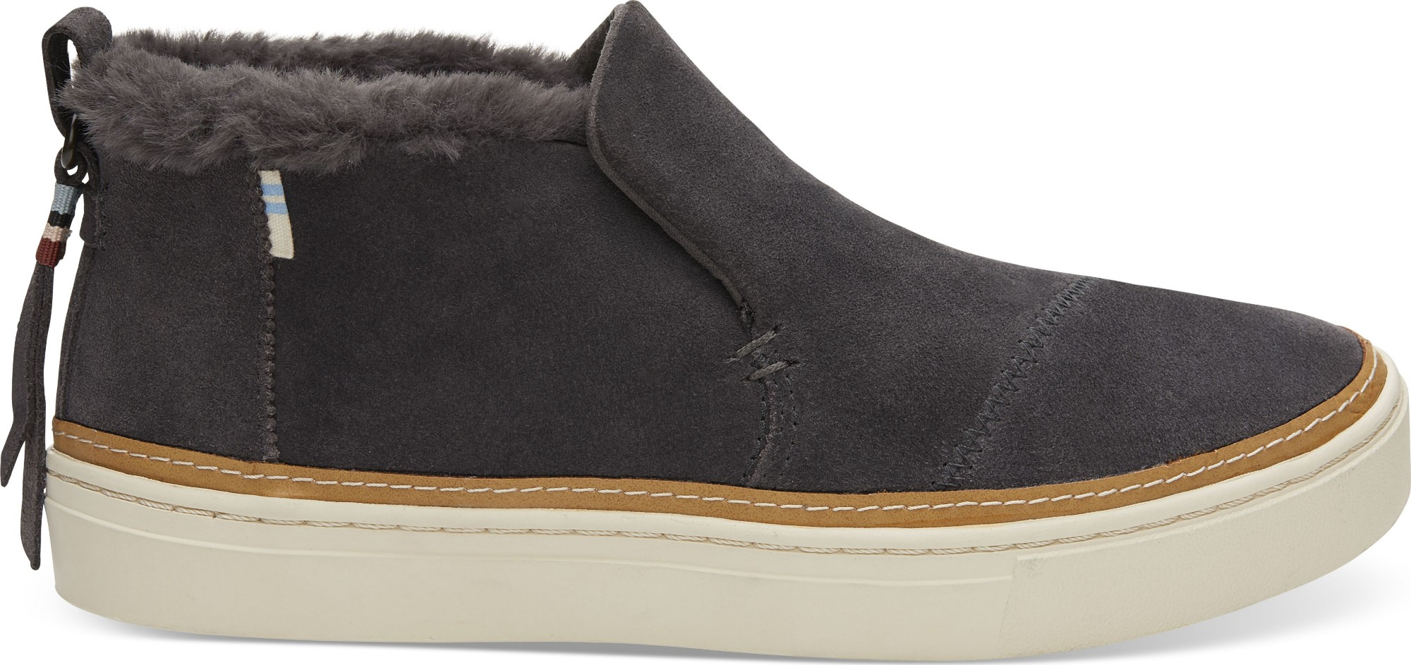 TOMS Suede Faux Fur Women's Paxton Slipon Forged Iron 38,5