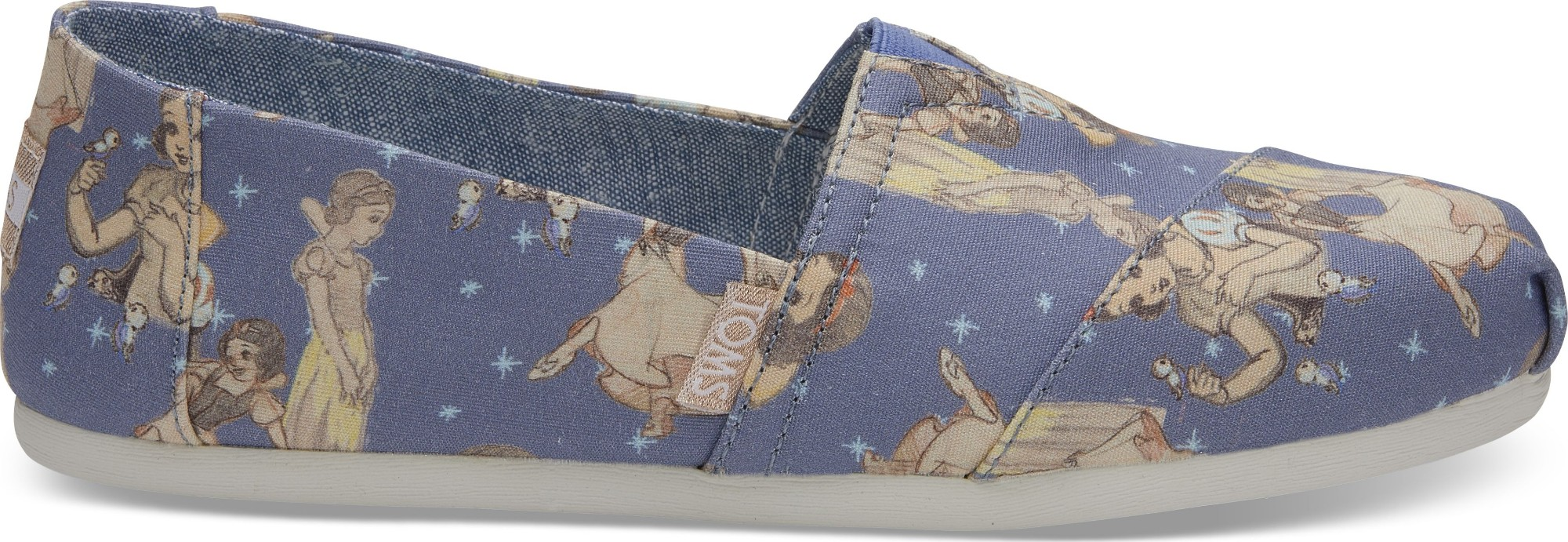 TOMS Snow White Printed Canvas Women's Alpargata Blue 38