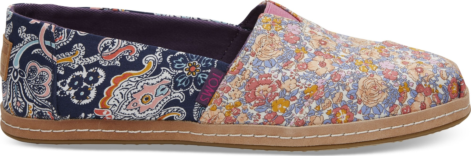 TOMS Floral Linen on Leather Women's Alpargata Navy Mosaic Red 38