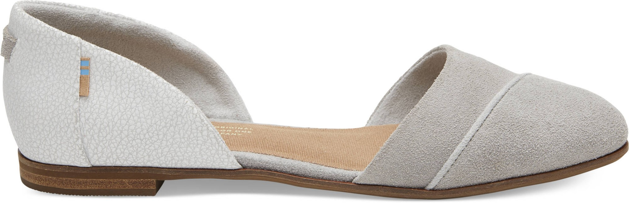 TOMS Suede Crackle Leather Women's Jutti Dorsay Drizzle Grey 39