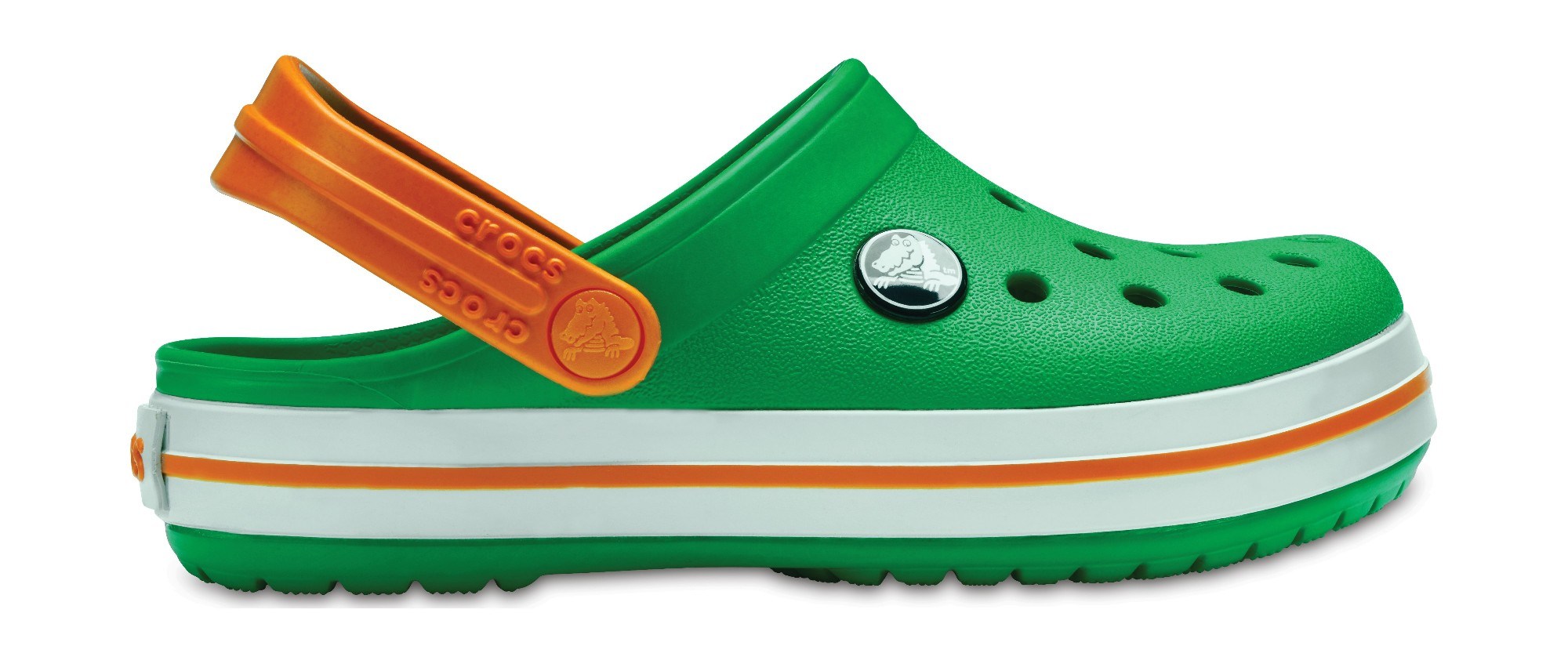Crocs™ Kids' Crocband Clog Grass Green/White/Blazing Orange 30