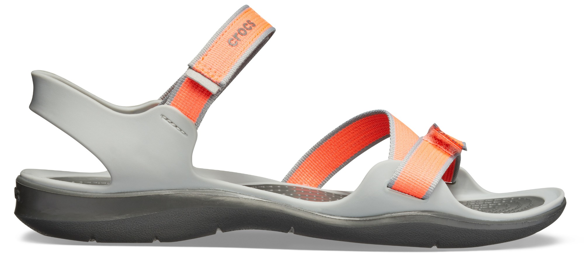 Crocs™ Women's Swiftwater Webbing Sandal Bright Coral/Light Grey 35