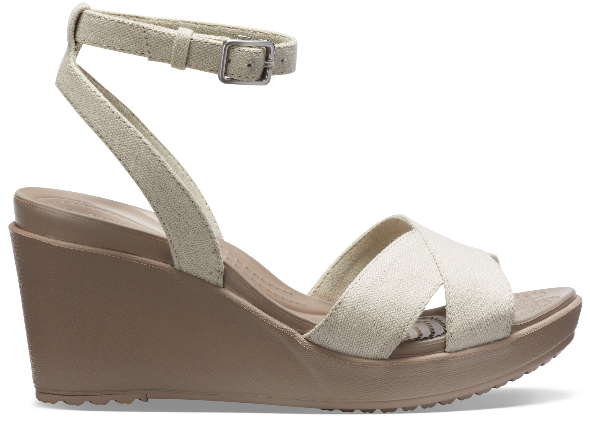 Crocs™ Women's Leigh II Ankle Strap Wedge Oatmeal/Mushroom 39,5