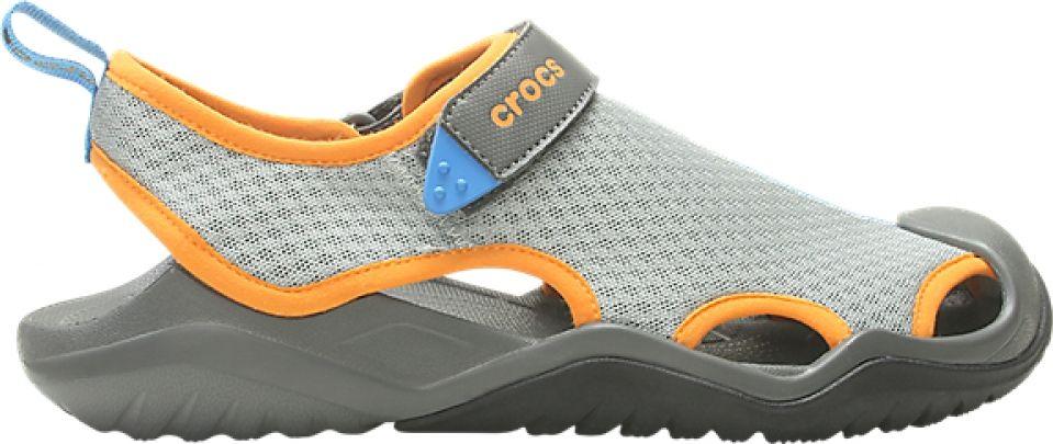 Crocs™ Swiftwater Mesh Deck Sandal Men's Light Grey/Blazing Orange 47,5
