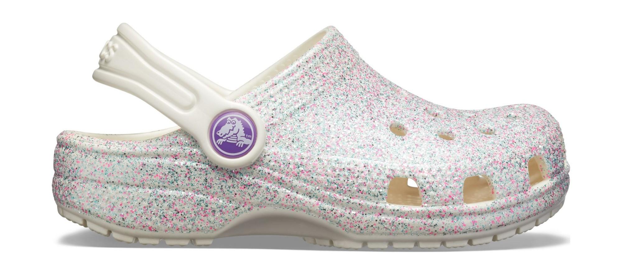 Crocs™ Kids' Classic Glitter Clog Oyster 23
