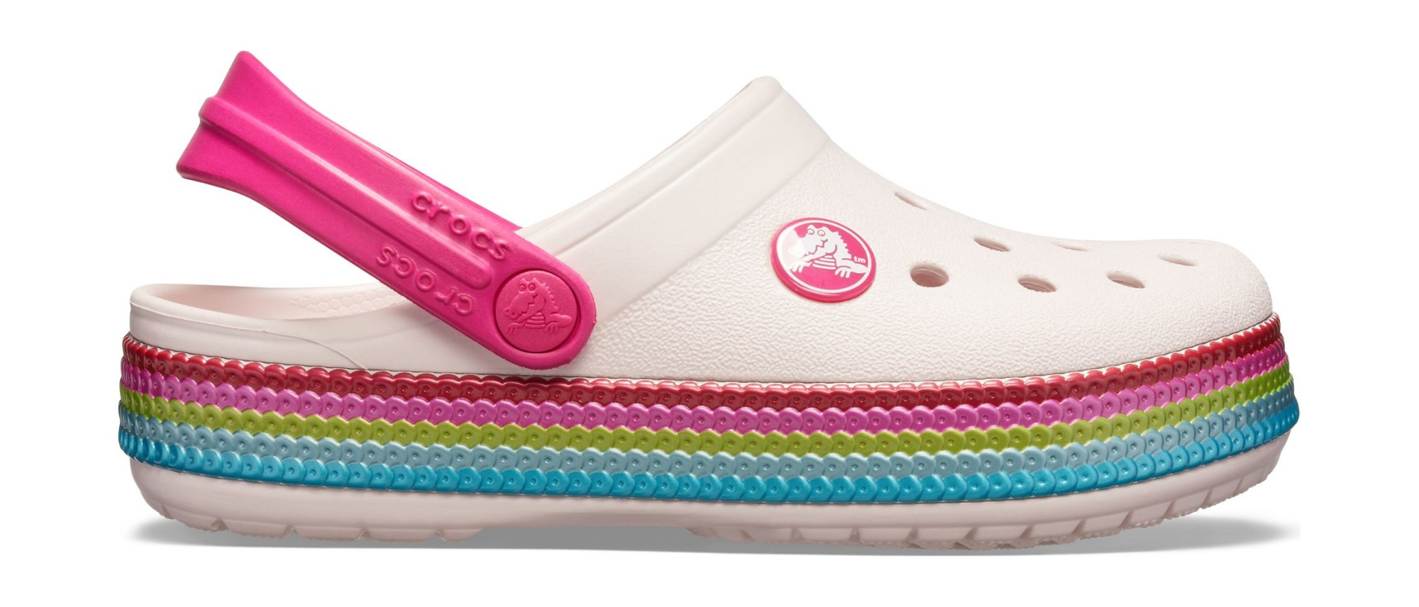 Crocs™ Crocband Sequin Band Clog Kid's Barely Pink 21