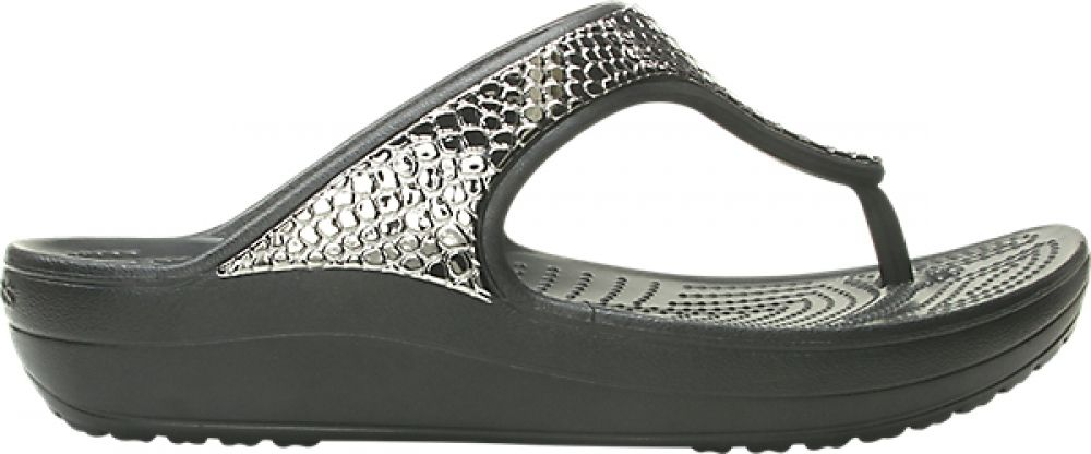 Crocs™ Sloane Metal Txt Flip Women's Gunmetal/Black 36,5
