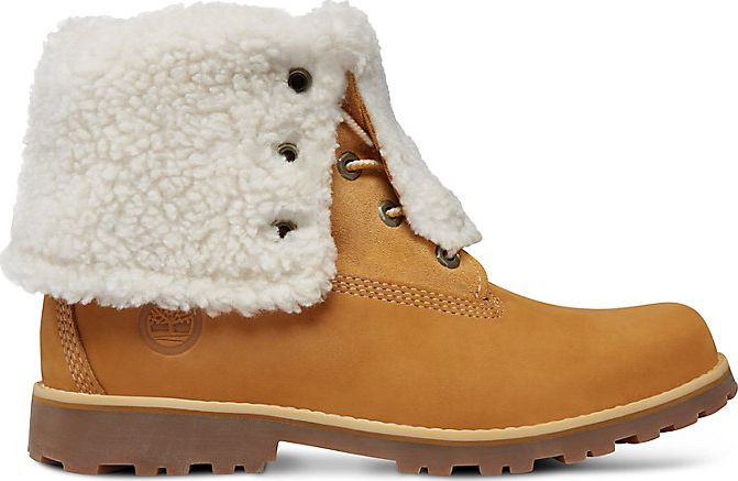 Timberland 6 In Faux Shearling Boot Junior's Wheat Nubuck 38